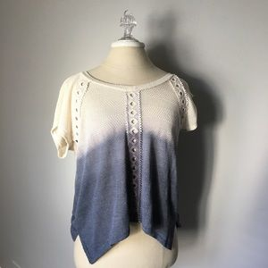 ANTHROPOLOGIE EVERLEIGH HI-LOW KNIT TOP BLOUSE L